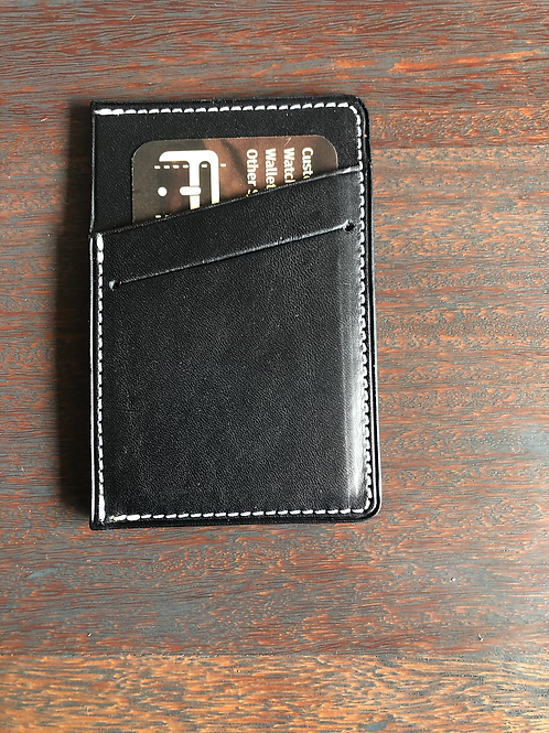 Black and White Leather Micro Wallet