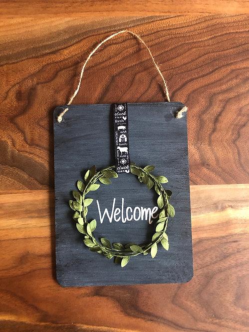 Chalkboard Wreath Welcome Sign- Animal Ribbon