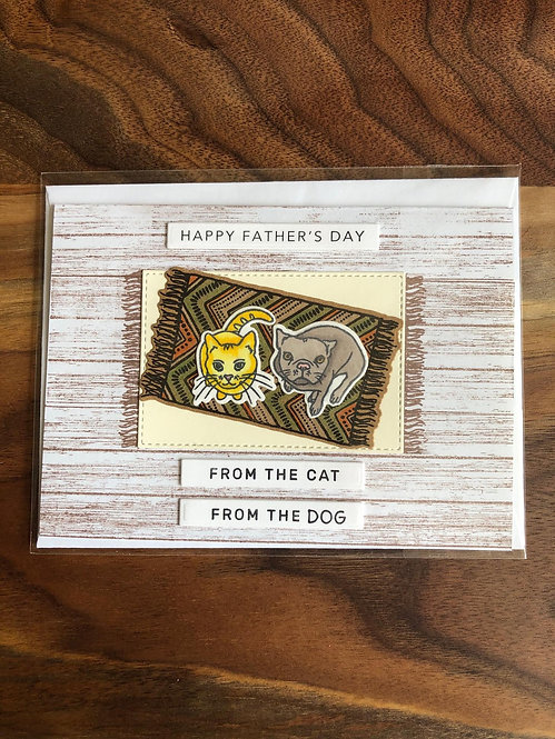 Handmade Father's Day Card- From The Cat and Dog