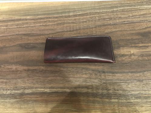 Leather Flat Eye Glass Case-Burgandy