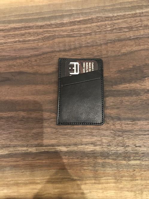 Leather Micro Wallet/Slant Front Pocket-Black