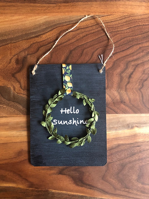 Chalkboard Wreath Hello Sunshine Sign- Lemon Ribbon
