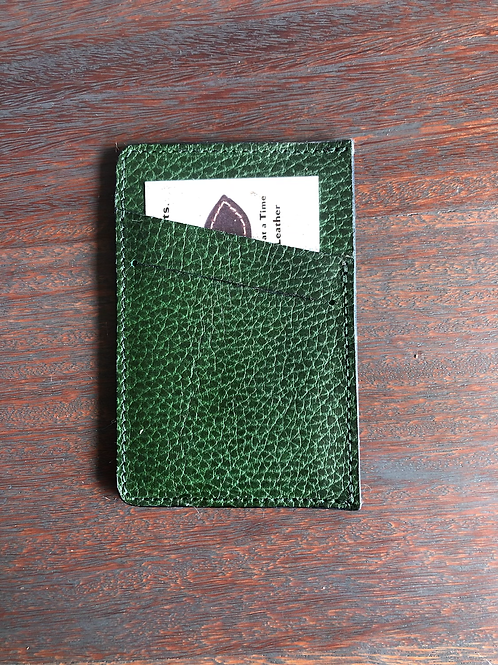 Green Leather Micro Wallet w/ Front Slant