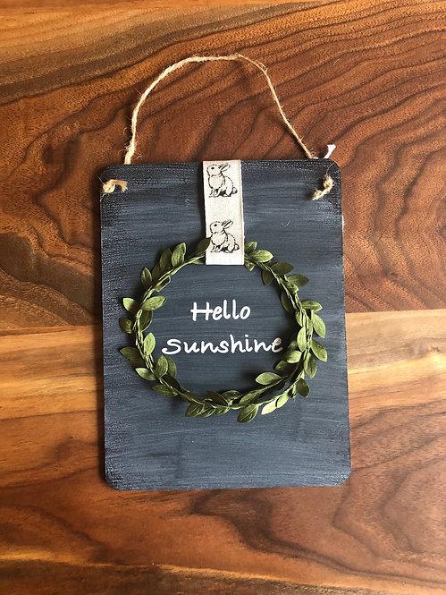 Chalkboard Wreath Hello Sunshine Sign- Bunny Ribbon