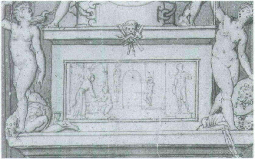 Michelangelo's Catafalque, Codex Resta, from 1564.