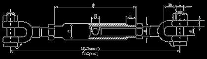 Размеры талрепа DIN1478 вилка-вилка