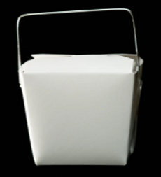 Half pint White Cardboard Take Out Box.P