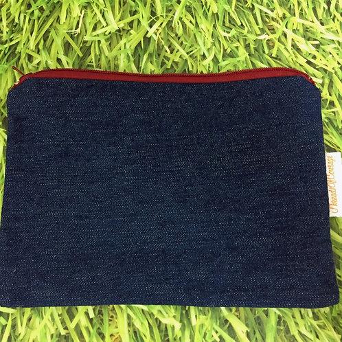 Denim Zip Pouch (Dark Blue)