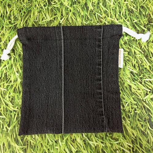 Denim Drawstring Pouch L (Black)