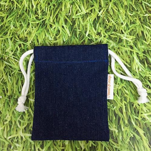 Denim Drawstring Pouch S (Dark Blue)