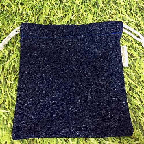 Denim Drawstring Pouch L (Dark Blue)
