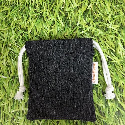 Denim Drawstring Pouch S (Black)