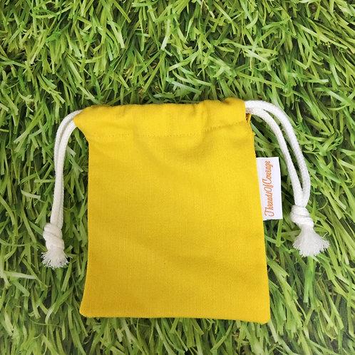 Denim Drawstring Pouch S (Yellow)