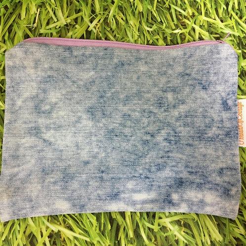 Denim Zip Pouch (Light Blue)