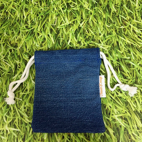 Denim Drawstring Pouch S (Medium Blue)