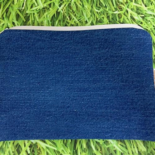 Denim Zip Pouch (Medium Blue)