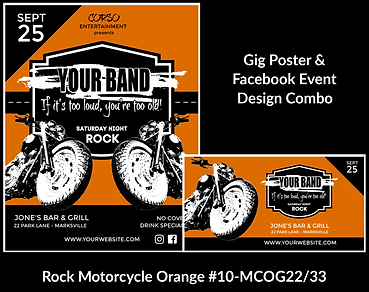 orange and black biker style motorcycle custom gig poster design and matching facebook event design for bands organzations and event planners to promote their event