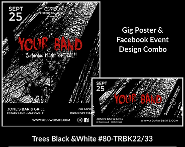 edgy black and white custom gig poster design and matching facebook event design for bands organzations and event planners to promote their event