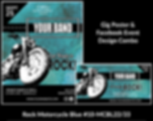 cool motorcycle on blue and black custom gig poster design and matching facebook event design for bands organzations and event planners to promote their event