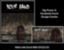 edgy devil metal style custom gig poster design and matching facebook event design for bands organzations and event planners to promote their event