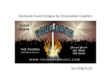flaming blue guitar on custom event design for bands organzations and event planners to promote their event