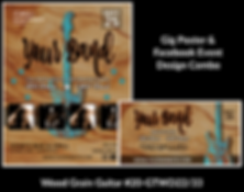 woodgrain with distressed blue guitar on custom gig poster design and matching facebook event design for bands organzations and event planners to promote their event