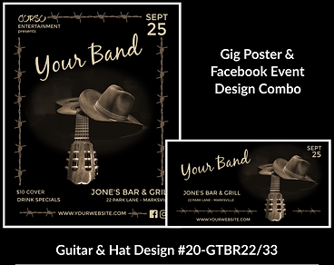 country style guitar and cowboy hatcustom gig poster design and matching facebook event design for bands organzations and event planners to promote their event