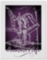 Cool purple and white drummer poster with front of drum kit including bass drum toms and cymbal with caption drummer life in script
