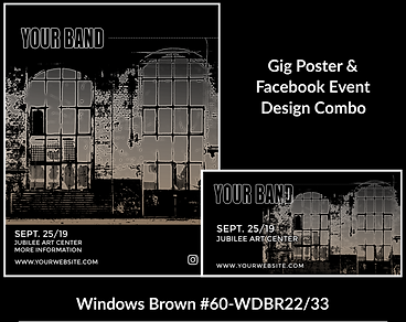 industrial style black and brown custom gig poster design and matching facebook event design for bands organzations and event planners to promote their event