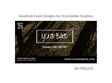 edgy gold and black custom event design for bands organzations and event planners to promote their event