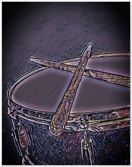 purple drummer poster with snare drum and crossed drumsticks