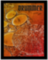distressed orange drum poster with snare drum bass drum toms and cymbals and caption drummer