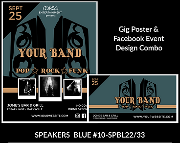 funky blue speakers on custom gig poster design and matching facebook event design for bands organzations and event planners to promote their event