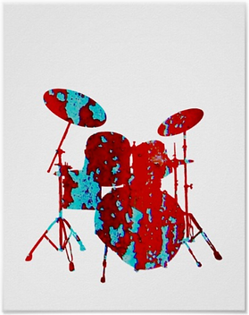 cool drummer poster with red and blue spattereddrum kit silhouette including snare drum hi hat toms bass drum and cymbals