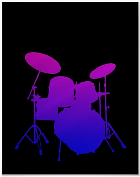 cool drummer poster with pink and blue drum kit silhouette including snare drum hi hat toms bass drum and cymbals