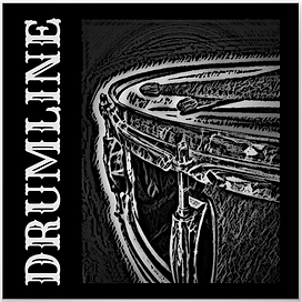 drummer poster with cool black and white snare drum and crossed drumsticks and caption drumline for snareline and marching band drummers