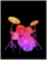 cool drummer poster with pink textured drum kit silhouette on black background including snare drum hi hat toms bass drum and cymbals