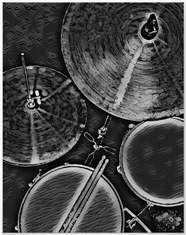 black and gray drummer poster with picture of drum kit including snre drum, hi hat, tom, cymbal and drumsticks