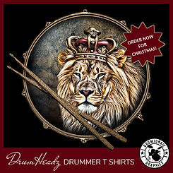 DrumHeadz drummer shirt with snare drum and drumsticks. Drum head has cool image of a lion wearing a crown