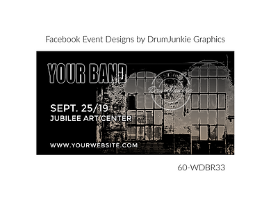 industrial style custom event design for bands organzations and event planners to promote their event