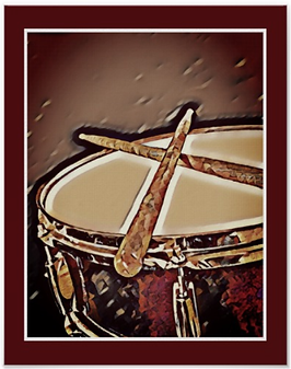 red drummer poster with snare drum and crossed drumsticks