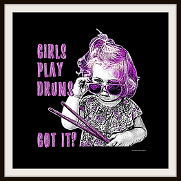 Little Girl Plays Drums Poster Framed mo
