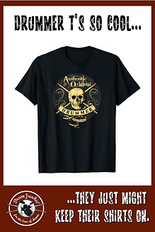 Drummer T shirt with skull and drumsticks