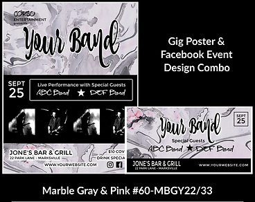 gray marble pattern custom gig poster design and matching facebook event design for bands organzations and event planners to promote their event