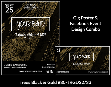 edgy gold and black custom gig poster design and matching facebook event design for bands organzations and event planners to promote their event