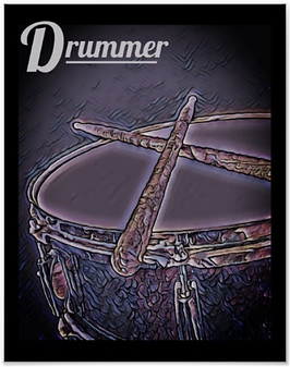 purple drummer poster with snare drum and crossed drumsticks and caption who needs therapy