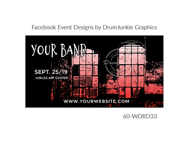 industrial style red and black custom event design for bands organzations and event planners to promote their event