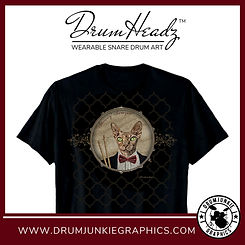 "Cool DrumHeadz drum shirt with ""Skinny"" the sphynx cat drummer with drumsticks on snare drum graphic."