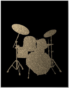 cool drummer poster with drum kit silhouette including snare drum hi hat toms bass drum and cymbals