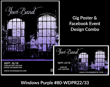 edgy purple and black industrial custom gig poster design and matching facebook event design for bands organzations and event planners to promote their event